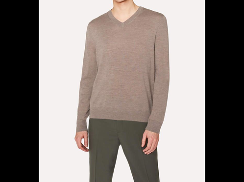 Ribbed V-Neck Knit Sweater