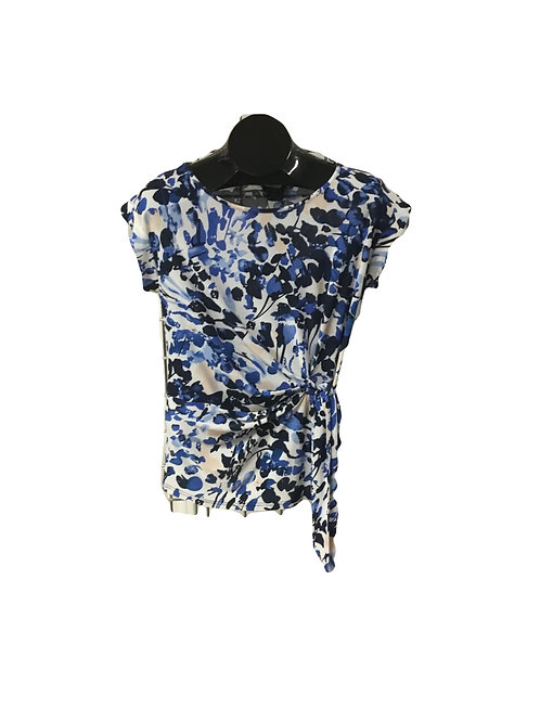 White with Blue and Cream Print Side Tied Capsleeve Top