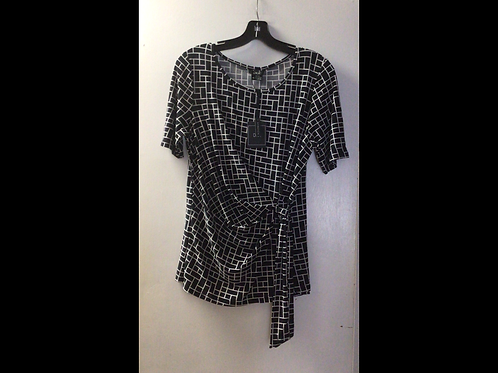 Black/White Rectangle Print Side Tied Shortsleeve Top