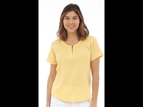 Yellow Cotton Bubble Gauze Top