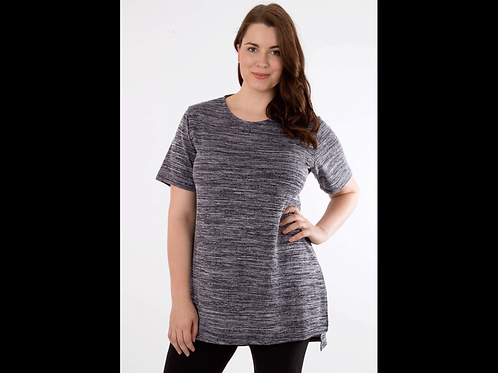 Full Figure Short Sleeve Top with Side Slits