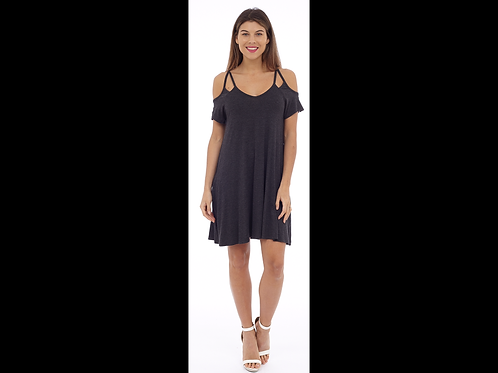 Navy Capsleeve Dress with Cut-Out Shoulder