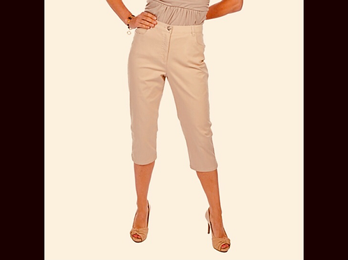 Blush DKR Cotton Capri with Side Slit & Hem Stitching