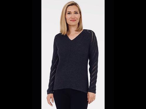 Black Knit V-Neck Sweater