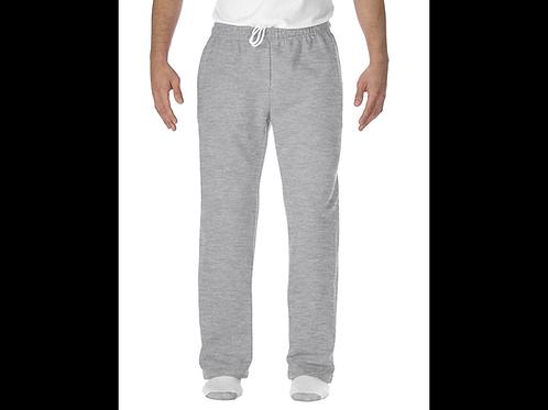 Gray Gildan Open-Bottom Sweatpants with Pockets