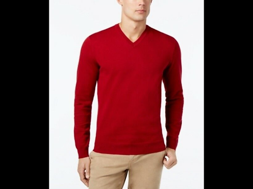 Ribbed V-Neck Knit Sweater