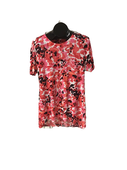 Pink White and Black Print Elbow Sleeve Top