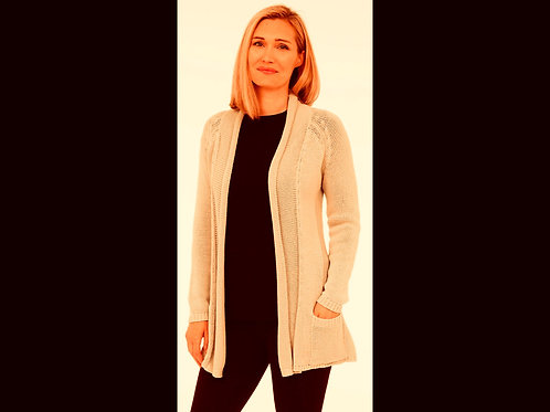 Open Cardigan With Embroidered Back