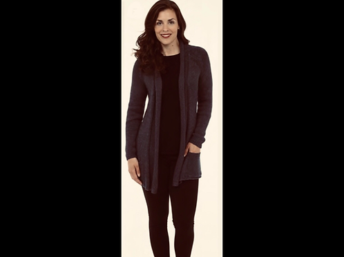 Black Open Cardigan With Embroidered Back