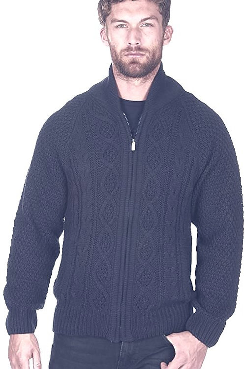 Men's Full Zip Chunky Cable Knit Cardigan