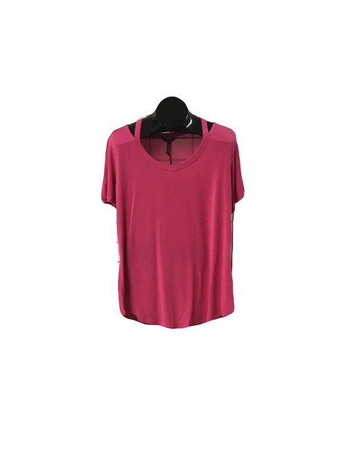 Raspberry Full Figure V-Neck Short Sleeve Top