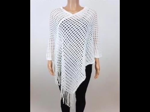 Crochet Poncho with Fringe