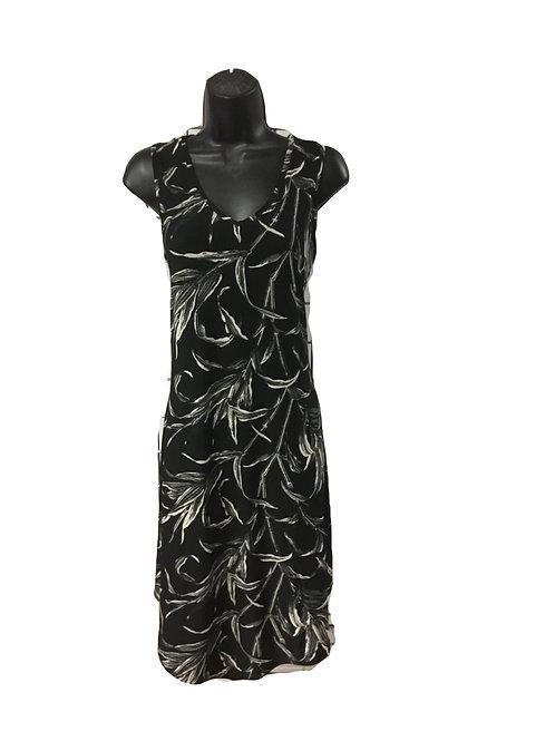 Black and Tan Leaf Print  Tank Dress with Hankerchief Hem