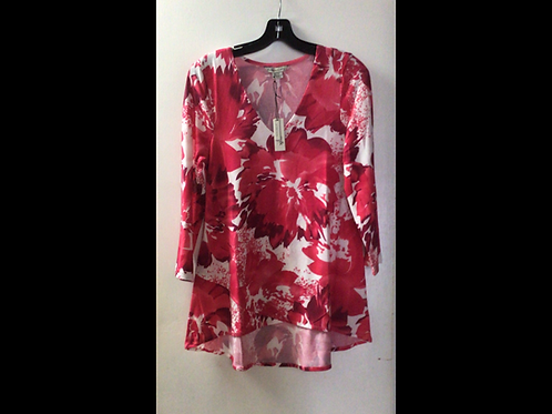 3/4 Sleeve V-Neck Top With High-Low Hem