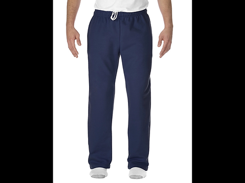 Navy Gildan Open-Bottom Sweatpants with Pockets