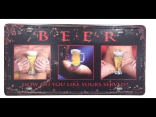 Decorative License Plate Beer