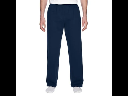 Navy-Fruit of the Loom Open-Bottom Sweatpants