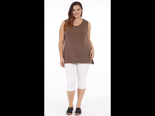 Full Figure V-Neck Linen Blend Tank Top