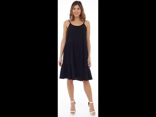Black Tiered Bubble Gauze Dress