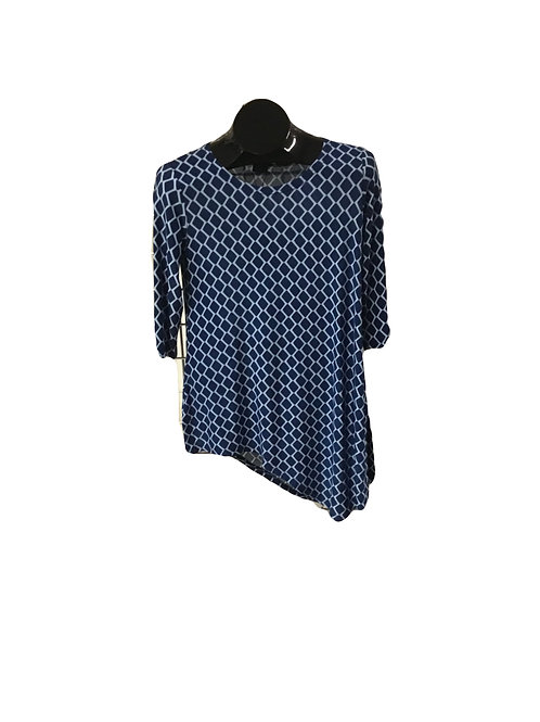 Blue and Light Blue diamond print 3/4 Sleeve Asymmetric Tunic