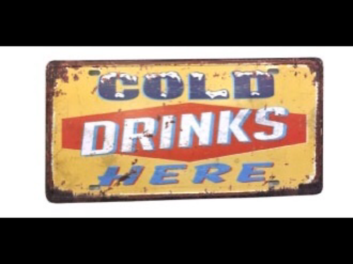 Decorative License Plate Cold Drinks Here