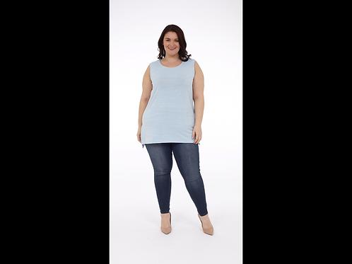 Full Figure Melange Tank Top with Side Slits