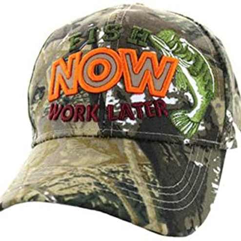 Fish Now Work Later Baseball Cap