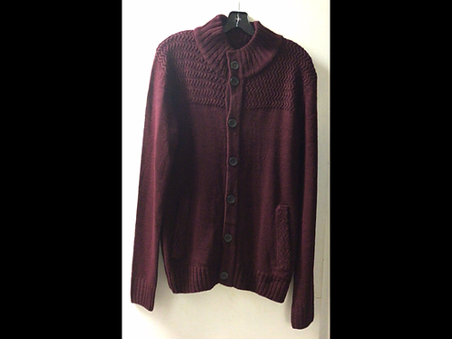 Maroon Unisex Button Up Knit Sweater