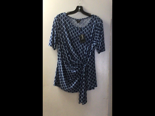 Blue and Light Blue diamond print Side Tied Shortsleeve Top