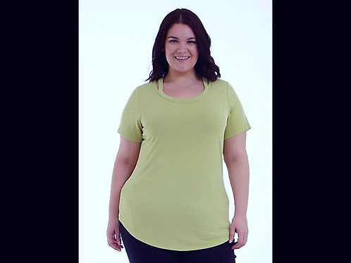 Lime Full Figure V-Neck Short Sleeve Top