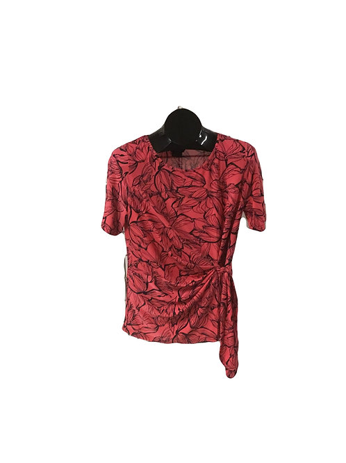 Coral and Black Foral Print Side Tied Shortsleeve Top