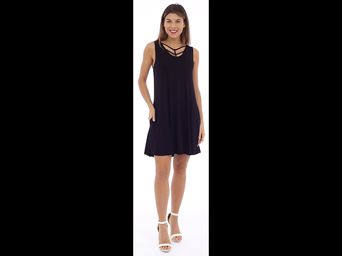 Black Sleeveless Dress with Braid Details