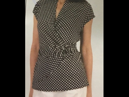 Black and white dot Capsleeve Wrap Style Top with Side Ring