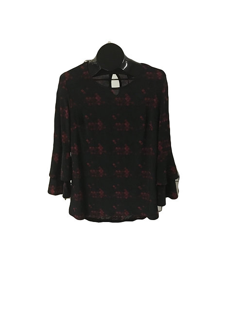 Red and Black Double Ruffle Long Sleeve Top