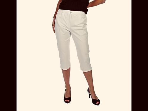Off White DKR Cotton Capri with Side Slit & Hem Stitching