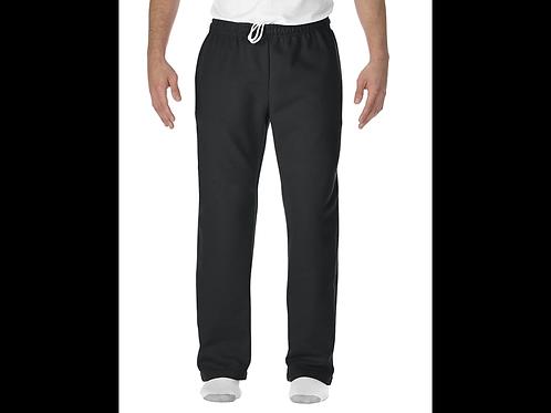 Black Gildan Open-Bottom Sweatpants with Pockets