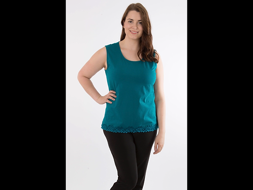 Teal Full Figure Crewneck Lace Trim Tank Top