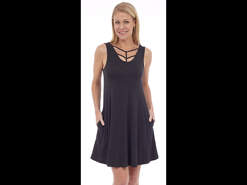 Charcoal Sleeveless Dress with Braid Details