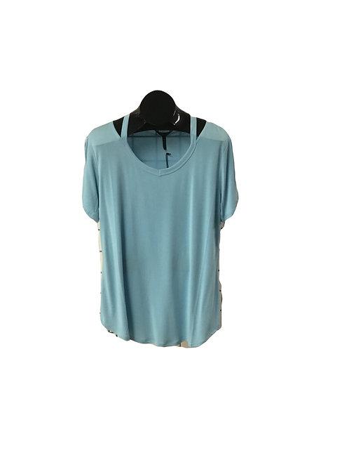 Turquoise Full Figure V-Neck Short Sleeve Top