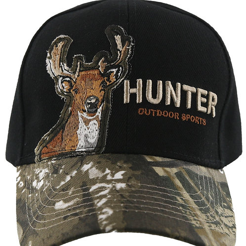 Deer Baseball Cap Black and Camouflage