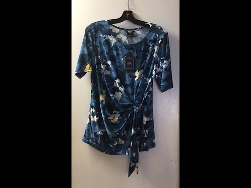 Blue/Yellow Print Side Tied Shortsleeve Top