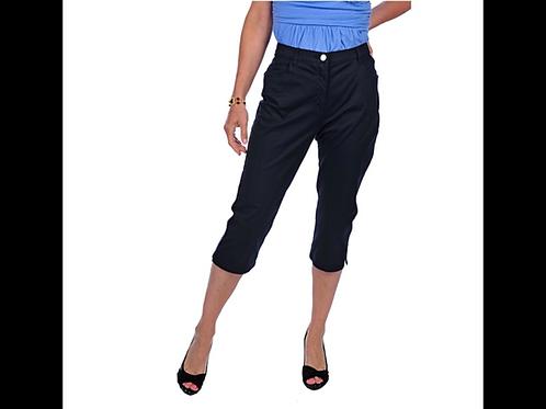 Black DKR Cotton Capri with Side Slit & Hem Stitching