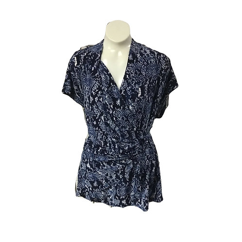 Navy with White Print Capsleeve Wrap Style Top with Side Ring