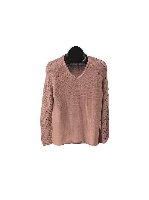 Blush Mix Knit V-Neck Sweater