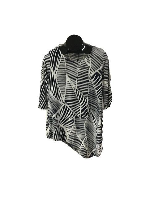 Navy/Cream Leaf Print 3/4 Sleeve Asymmetric Tunic
