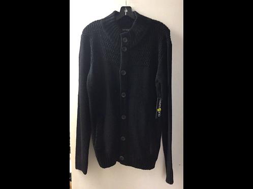 Black Unisex Button Up Knit Sweater