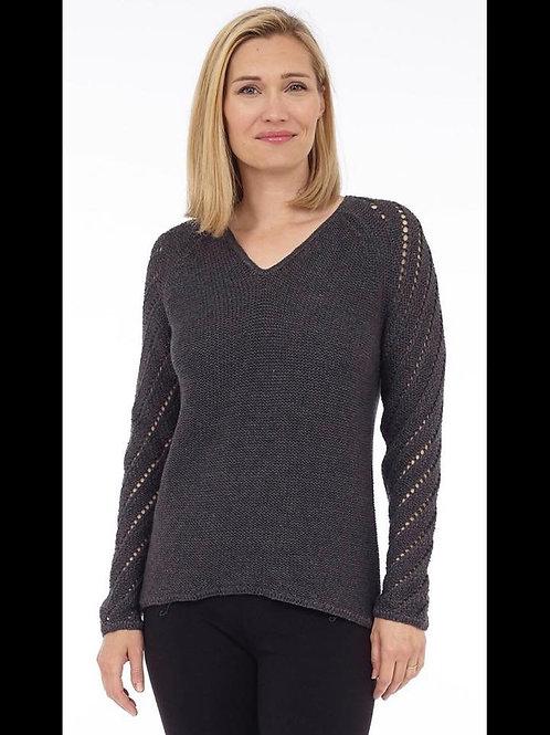 Charcoal Knit V-Neck Sweater