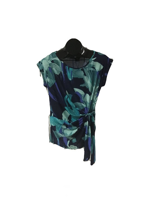 Blue/green Floral Side Tied CapsleeveTop