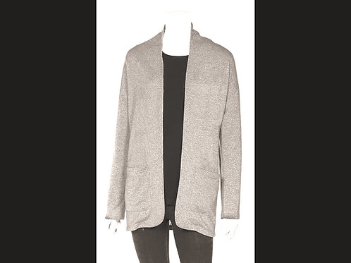 Long Sleeve Open Cardigan with Patch Pockets