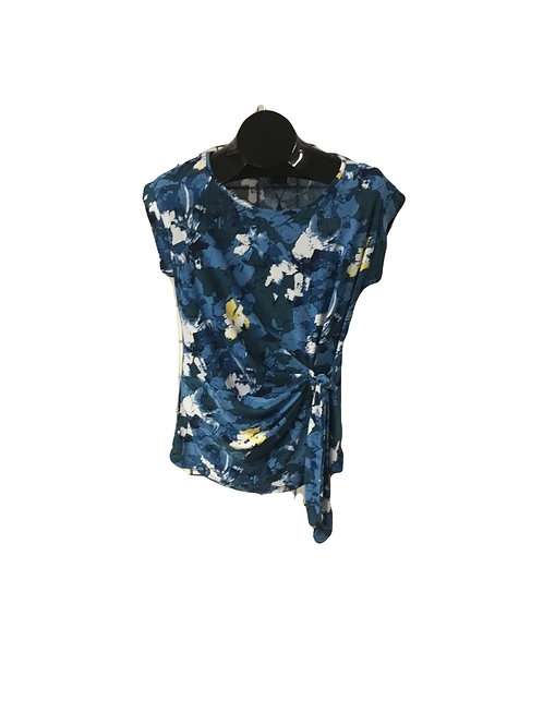 Blue/Yellow Print Side Tied Capsleeve Top